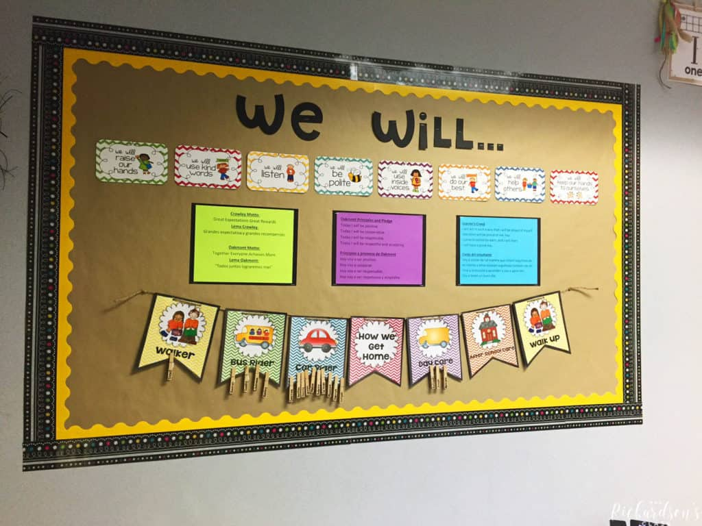 This bulletin board displays classroom rules, school wide pledges and expectations, and how students get home each day.