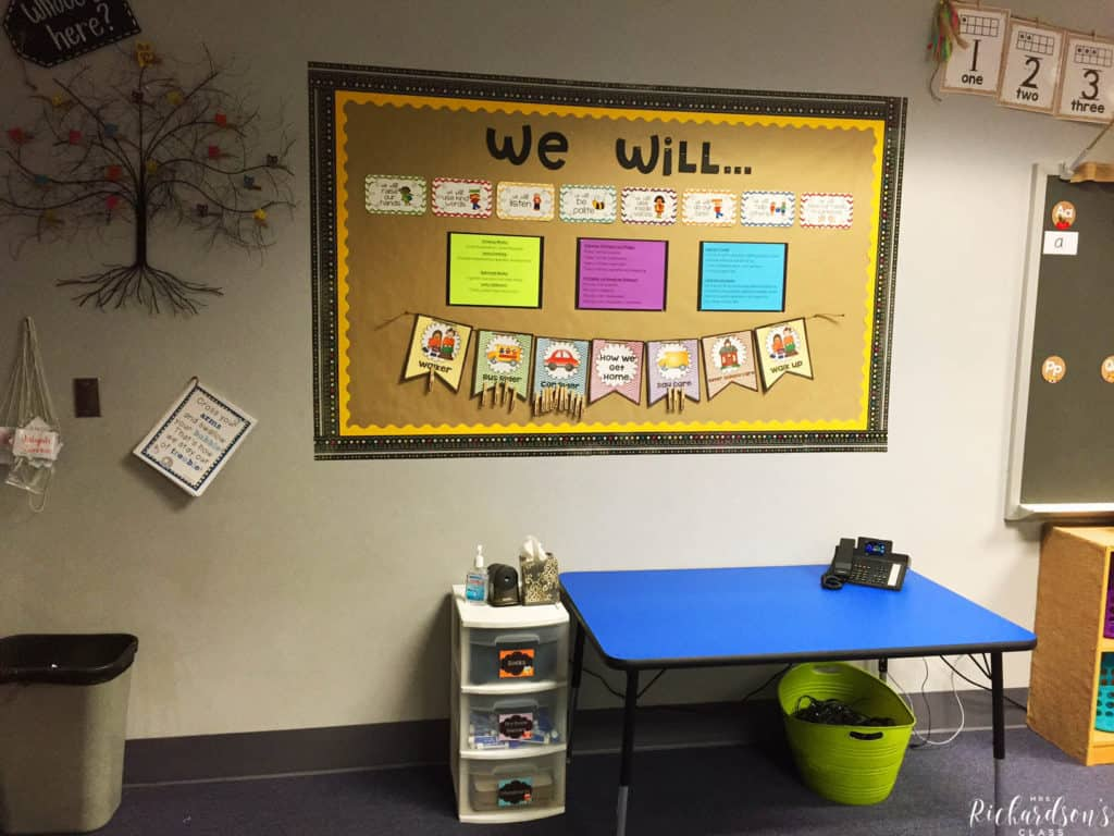 This bulletin board displays classroom rules, school wide pledges and expectations, and how students get home each day. The table underneath is where computers will go for a computer station.