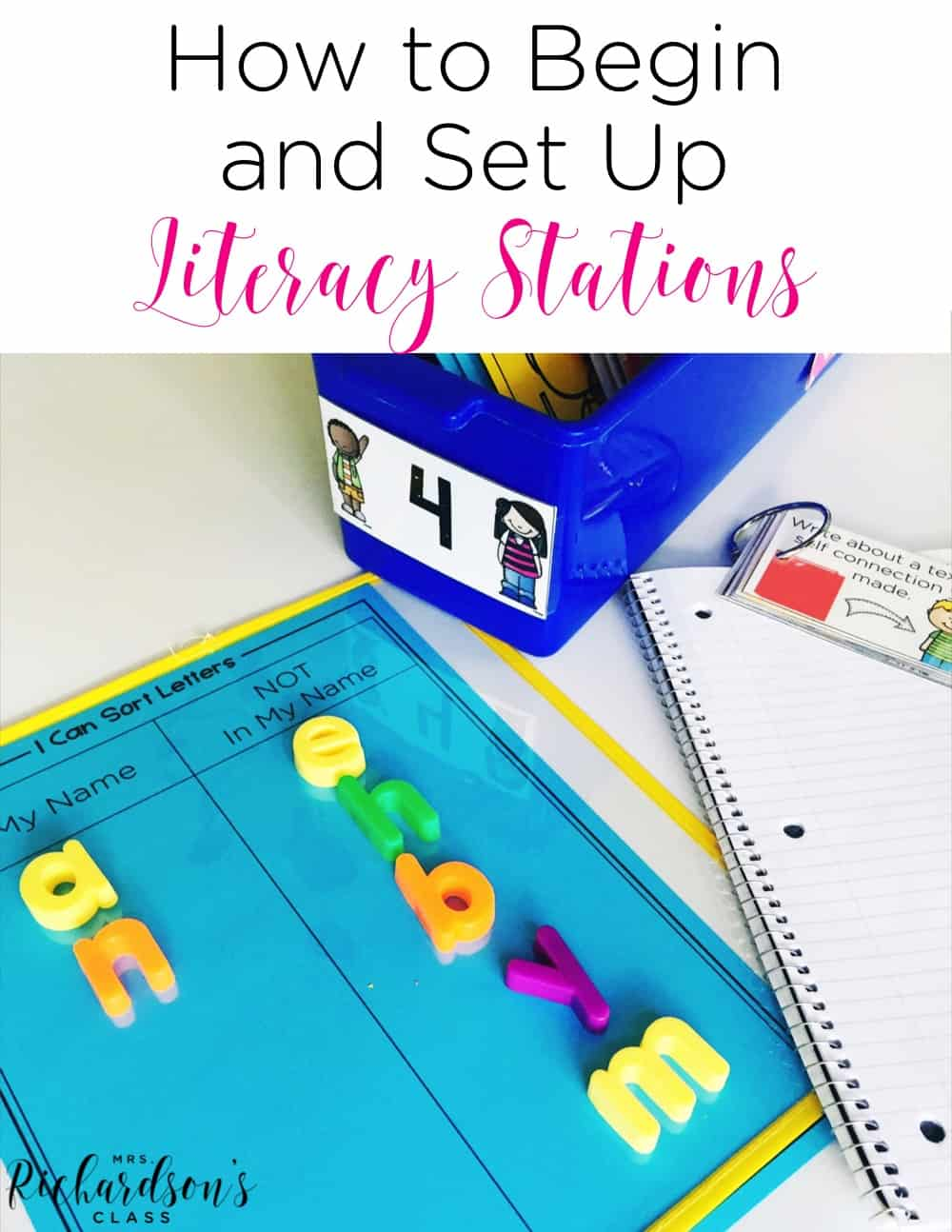 Beginning literacy stations can seem like a huge task, but it really is simple! No more changing stations out each week! Keep your learners engaged and make your job easier! #literacystations #literacycenters #firstgrade #kindergarten #organization