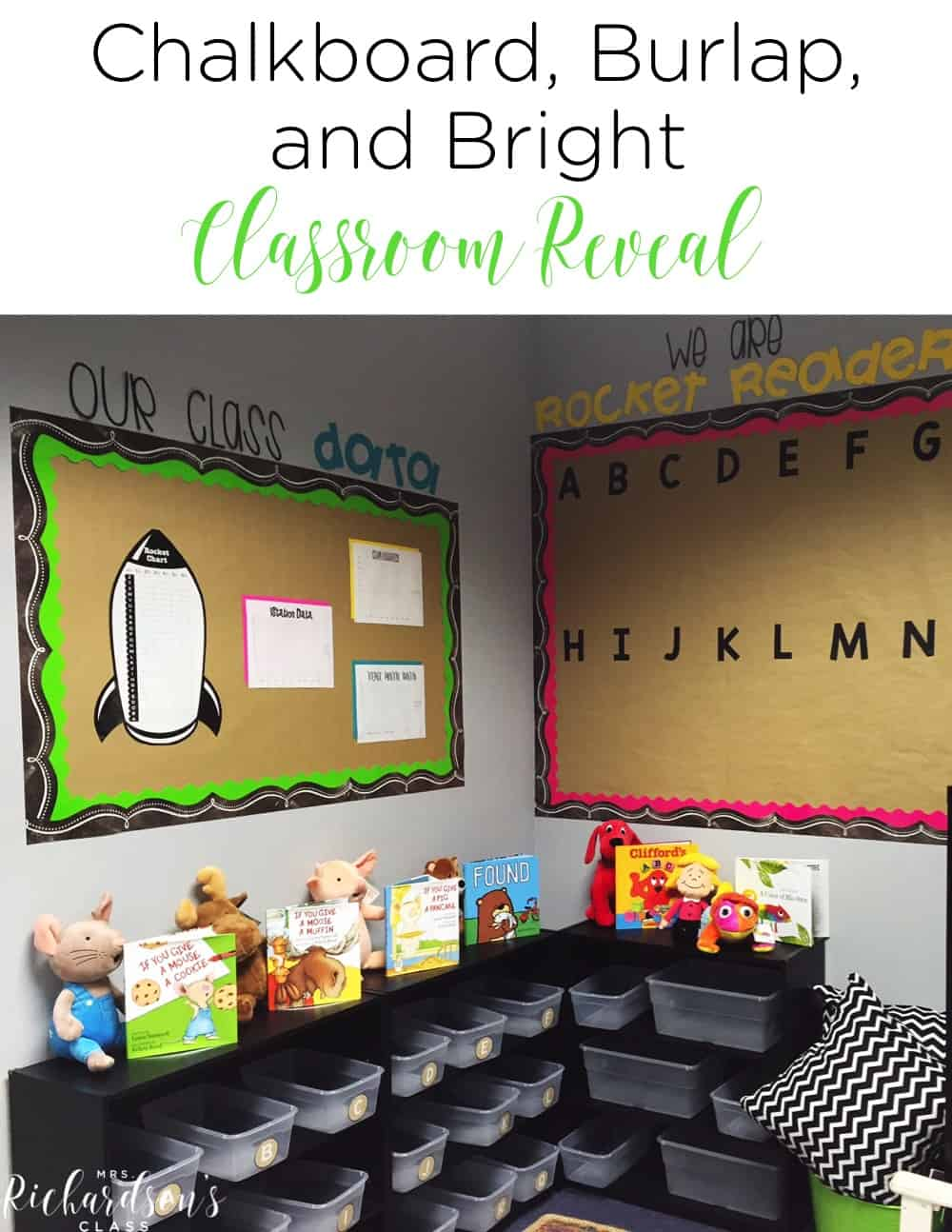 Chalkboard, burlap, and bright classroom decor that is simple and affordable! I love how inviting this learning environment is, too! Get a quick tour of everything from the teacher desk to bulletin boards to easy organization tips! #classroomdecor #classroomideas #classroomorganization #kindergaten #firstgrade #preschool