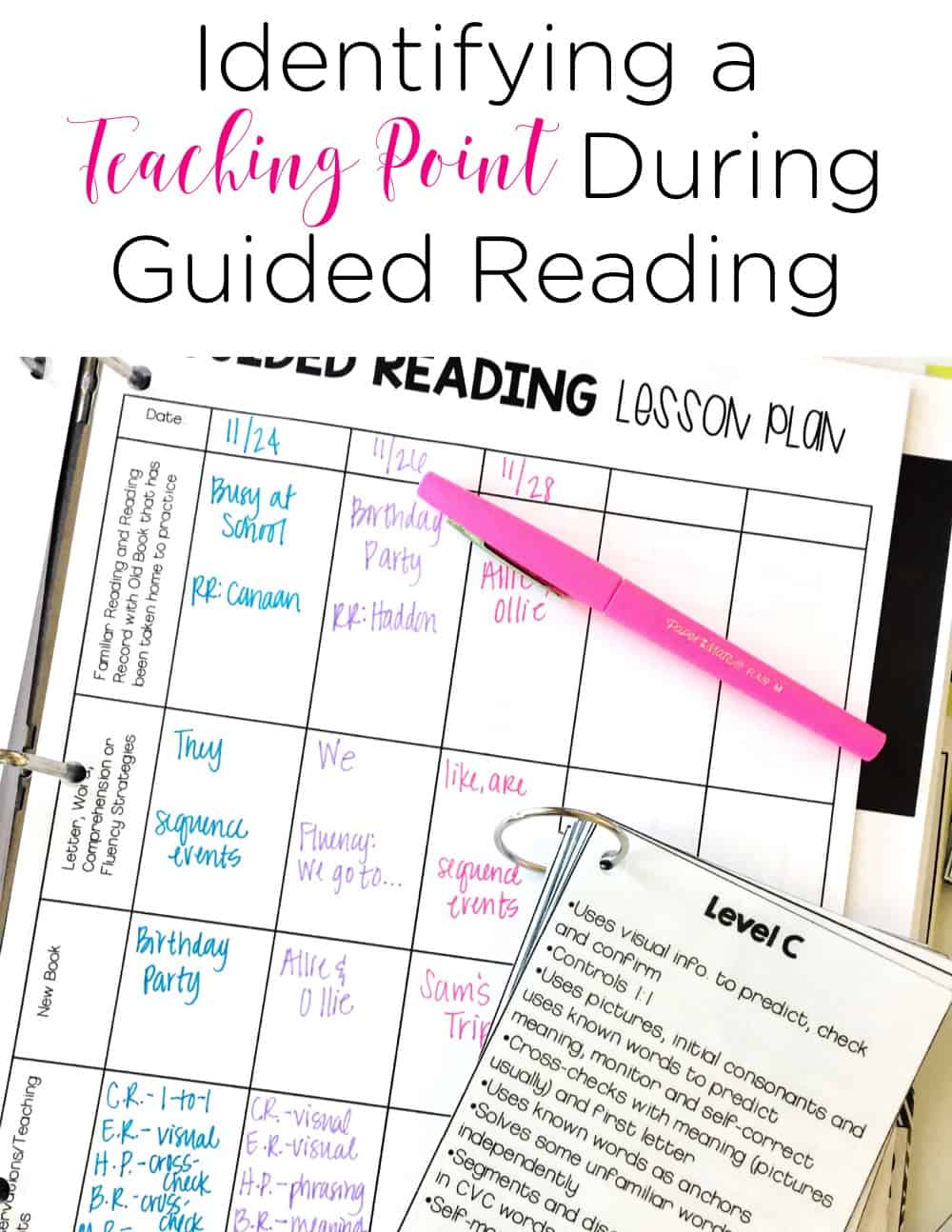 Identifying a teaching point during guided reading may be the most important thing you do to help your readers during guided reading time. In this blog post, this teacher shares the basics of identifying a teaching point. #guidedreading #kindergarten #firstgrade #reading #homeschool