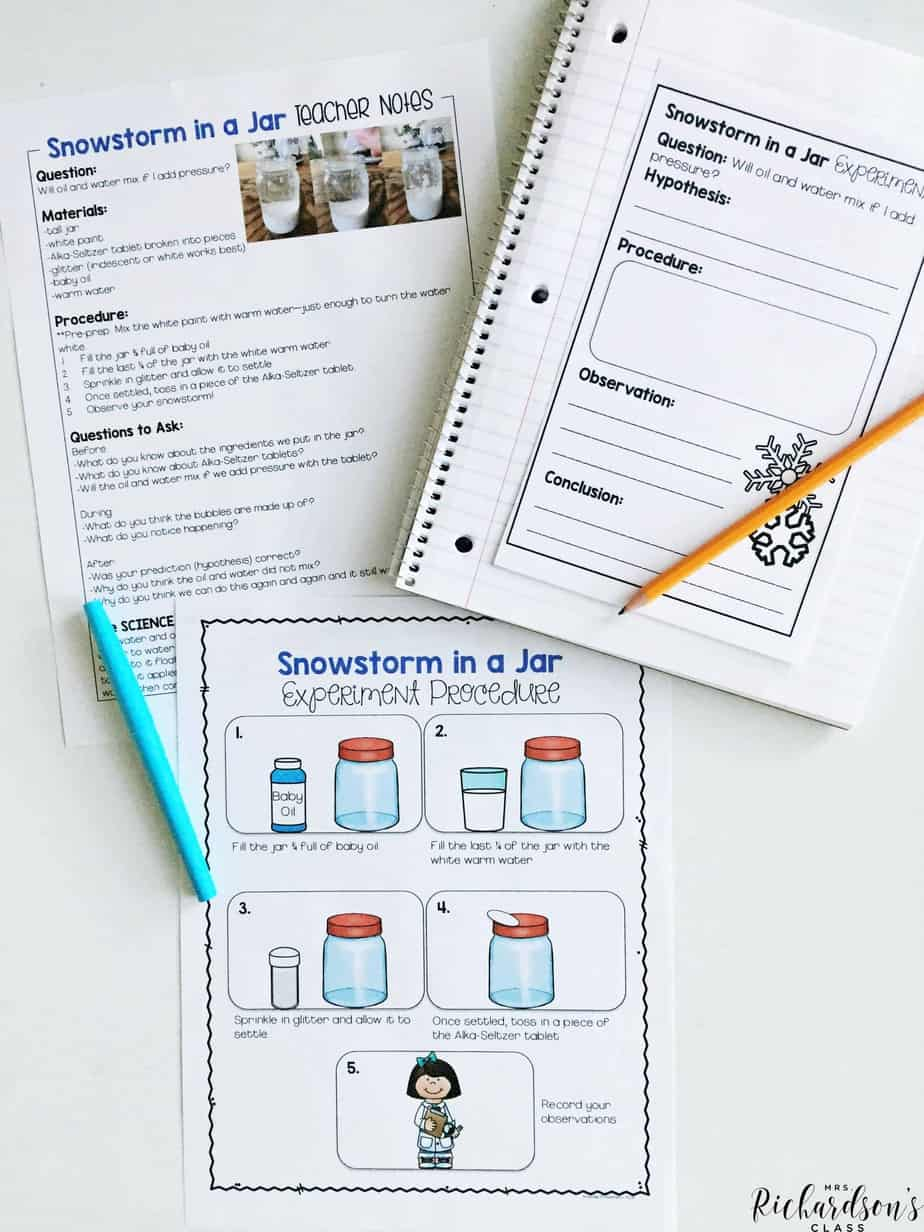This snowstorm in a jar experiment is loved by students! It's perfect for your classroom as you explore snow activities or season activities for kindergarten or first graders!