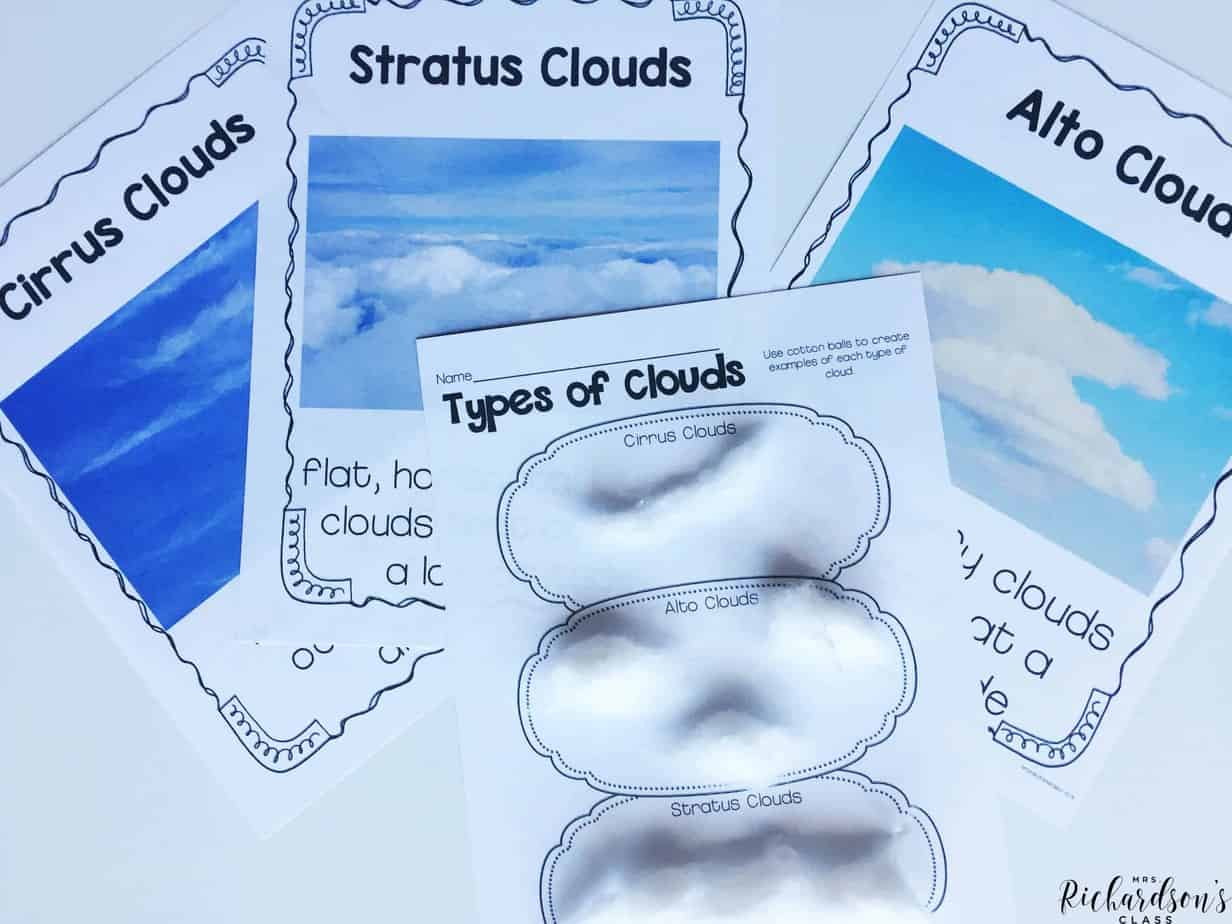 Types of clouds are always interesting for students! They can explore the 3 main forms of clouds and create an example with this cloud activity!