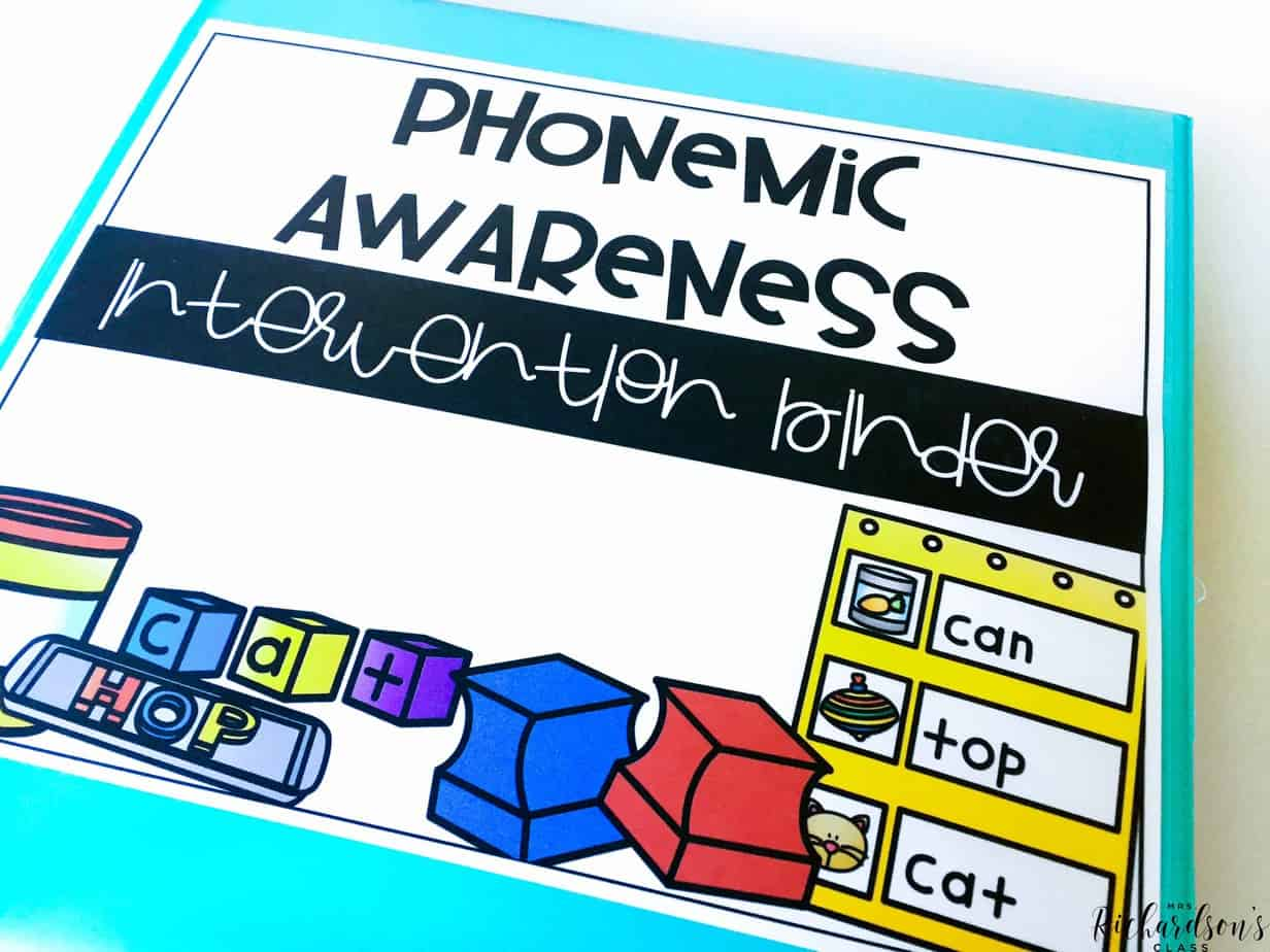 Organized phonemic awareness activités for intervention in a binder! Everything is together in one place!