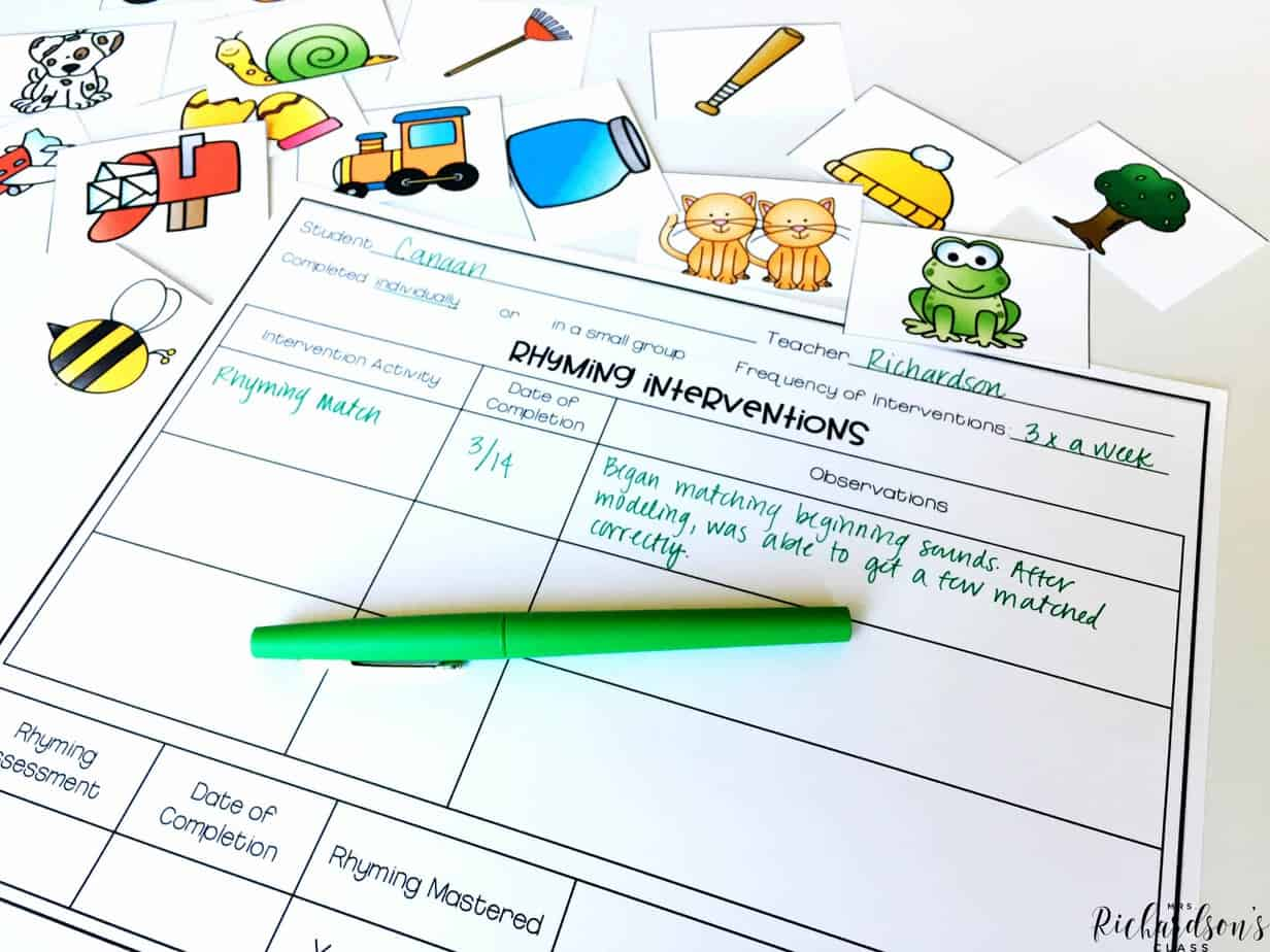 This phonemic awareness binder has everything you need for intervention time! Included are activities, assessments, and recording pages to keep data on students.
