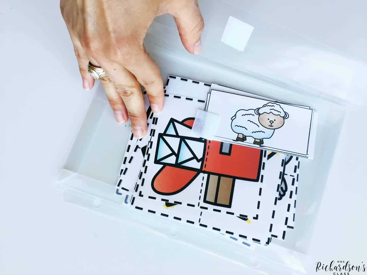 Use plastic velcro pockets to store phonemic awareness activities neatly.