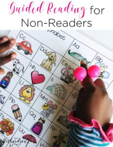 Guided reading with kindergarten students, especially who are non-readers, can be a challenge. This teacher breaks down a guided reading lesson for non-readers and shows you what your time at your guided reading table should look like!
