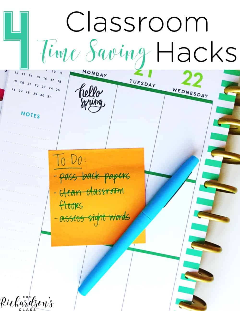 These 4 classroom time saving hacks are sure to help you keep your sanity in your classroom. From finding some extra time to practice skills, to classroom clean up, to saving your voice, you are sure to save classroom time!
