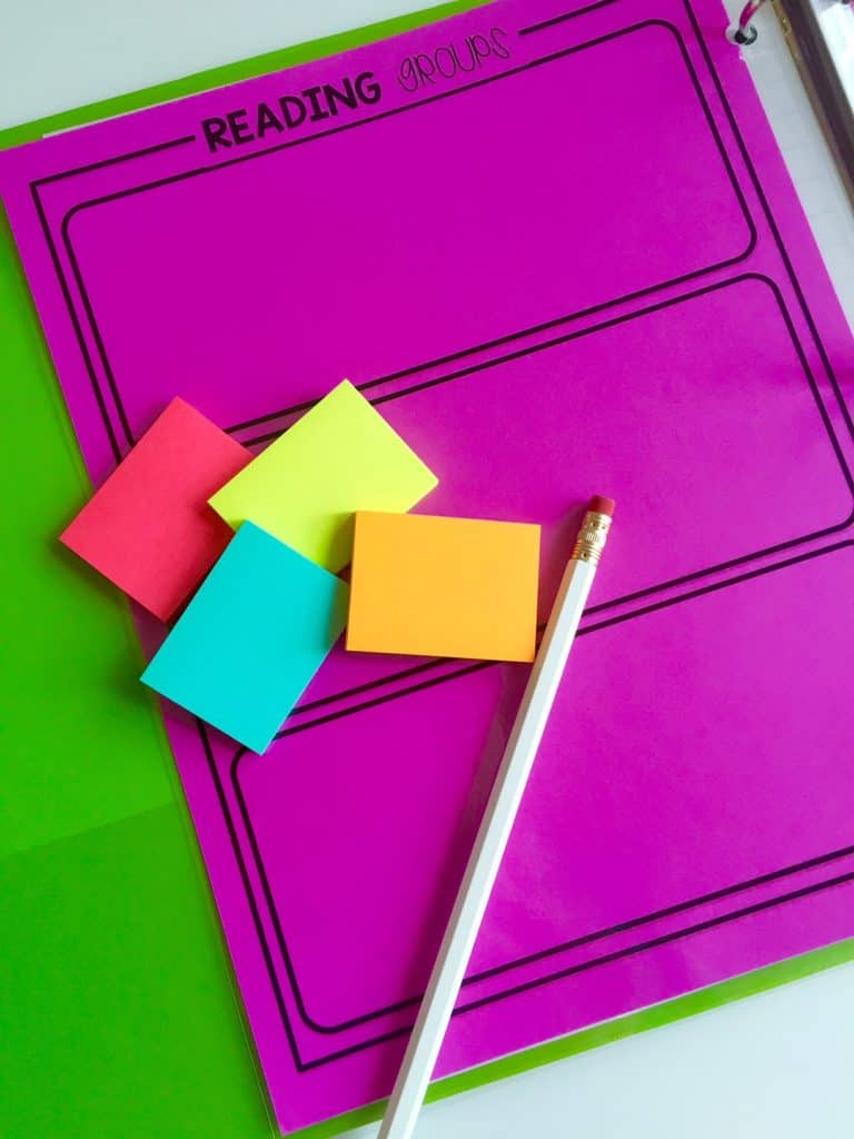 Use post-it notes to create guided reading groups so that they can be easily switched around.