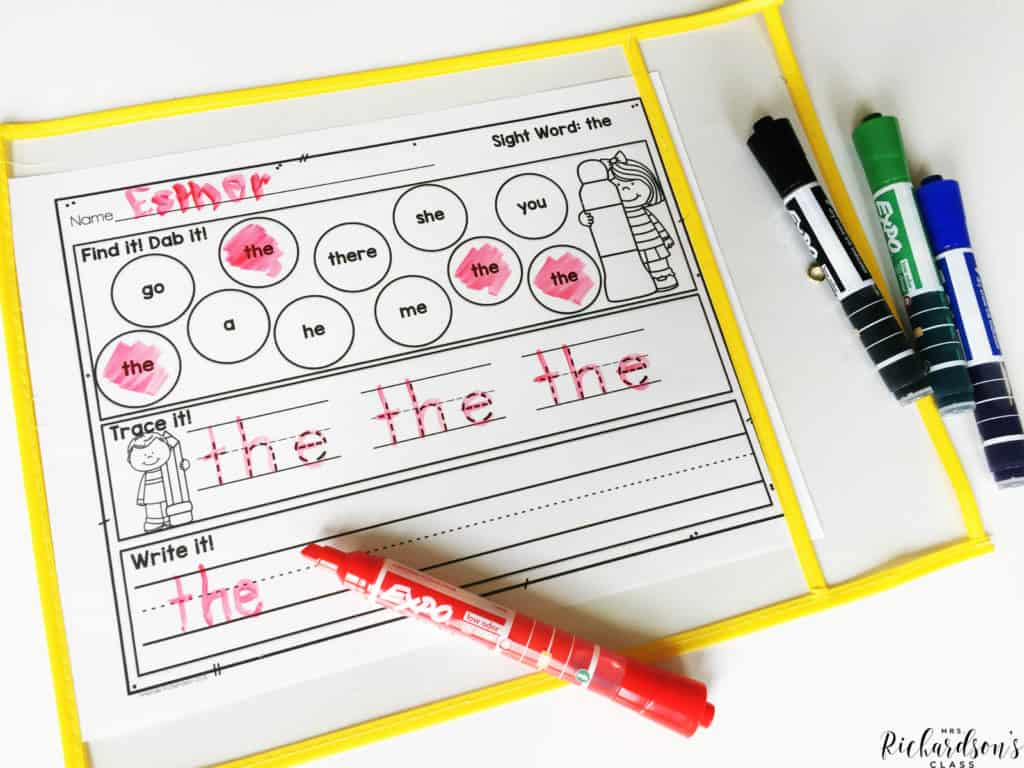 Use dry erase markers to turn recording sheets or work station activities into re-useable pages. No more million copies!