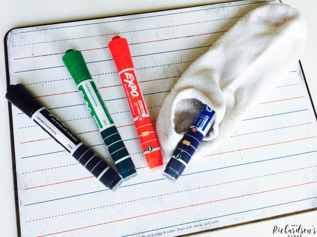 Save time and money by storing markers in old socks. Each student gets a sock with a marker inside when it's time for EXPO marker fun!