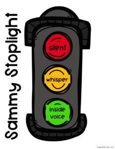 Sammy Stoplight for voice control in the classroom. Perfect to use during literacy centers and in any kindergarten and first grade classroom.