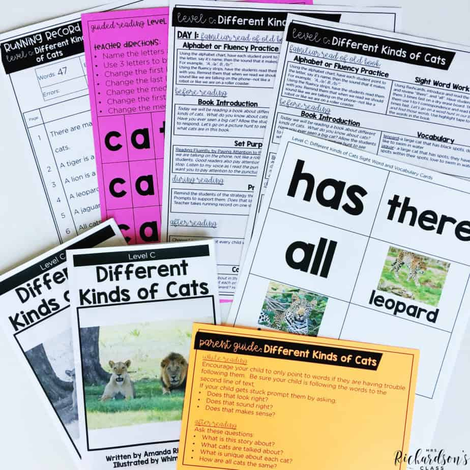 Guided reading lesson plans to help you along the way! No more guessing about what you will teach or running around to gather supplies. Everything you need for a guided reading lesson is in one place!