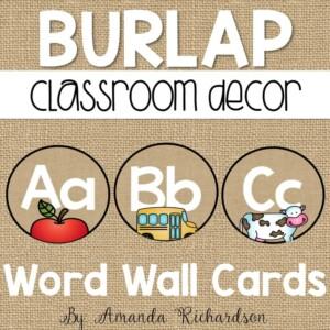 Classroom word wall headers in burlap