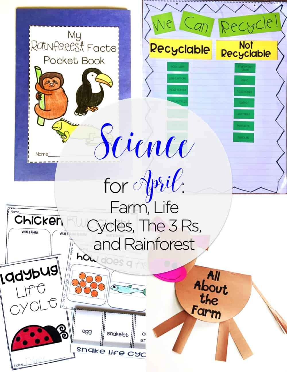 Be set for science for April with your first grade class! This unit has life cycle activities, farm activities, earth day activities, and rainforest activities. From science experiments for first grade to close reading for first grade, you are sure to be set!