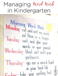 Are you looking for a word work routine that works with your students? I loved using Words their Way in my kindergarten and first grade classroom. Read more about how I created an organized system that worked for us in this blog post!