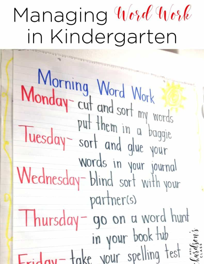 Managing Word Work in Kindergarten