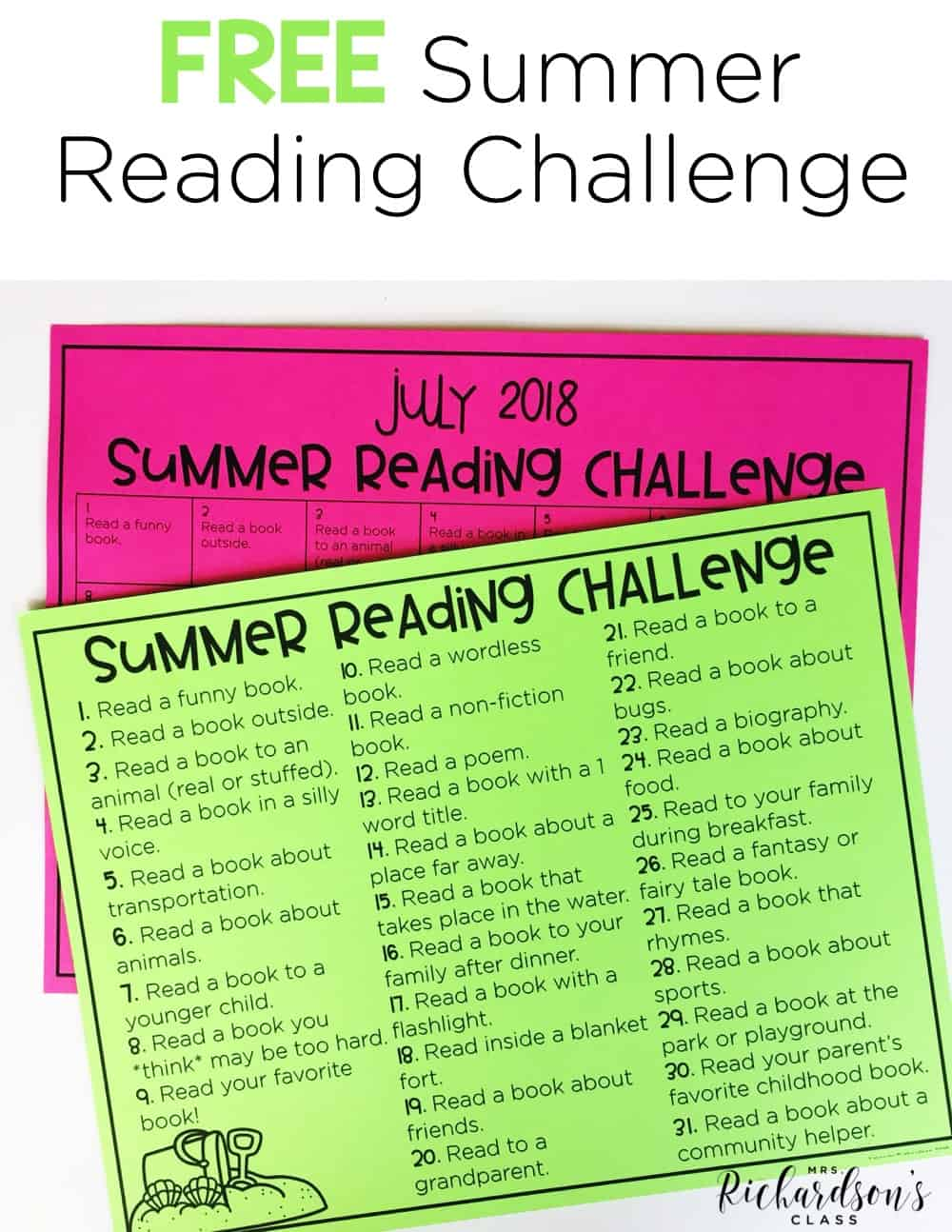 Use this FREE summer reading challenge to keep your students reading throughout the summer! It's the perfect thing to add to yoru summer bucket challenge for your kindergarten and first grade readers!