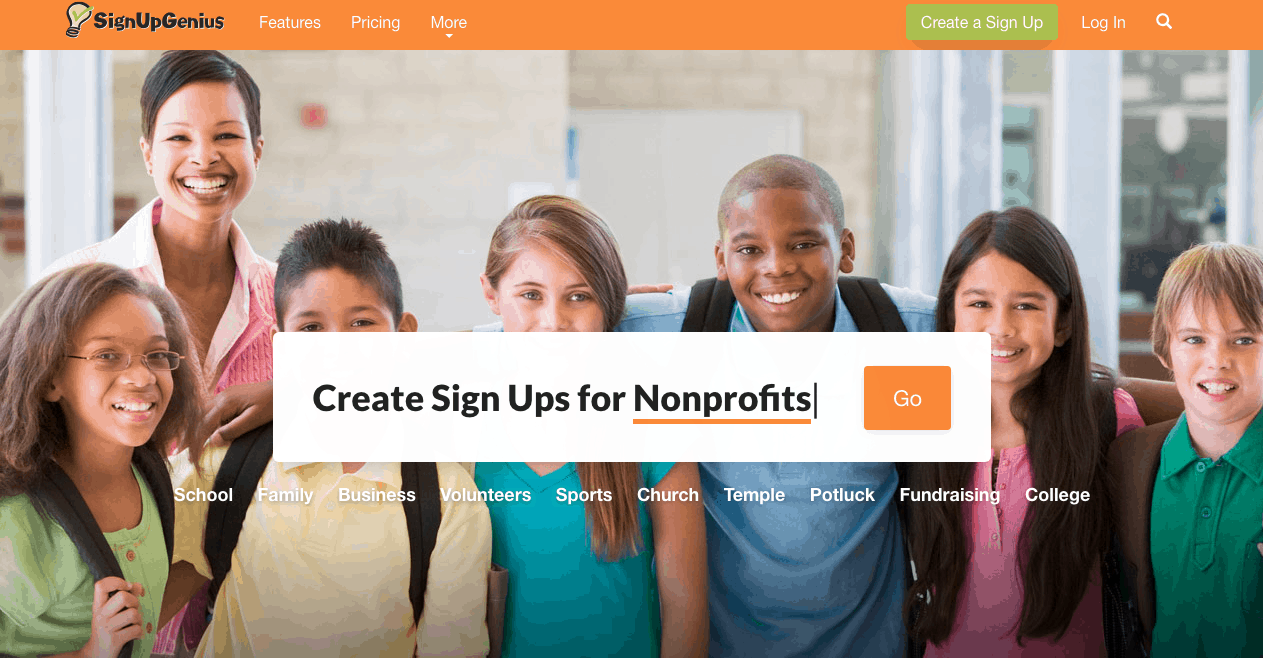 SignUpGenius homepage is simple to use! If you are looking for a way to streamline your classroom volunteers, conference planning, and more!
