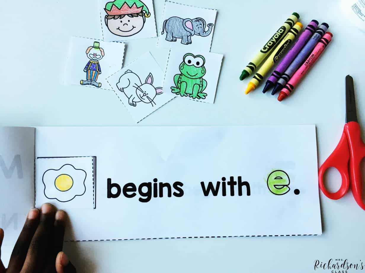 Creating alphabet books is a great way for learners to focus on letter sounds and letter identification. These books are horizontal, which also focuses on the text direction.