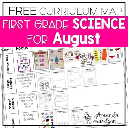 This first grade science curriculum map that is FREE is sure to help you plan the year for your first grade science lessons!