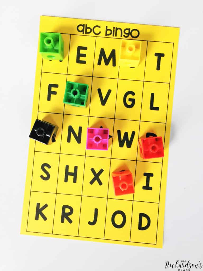 Use this simple ABC bingo board and make it into a beginning sounds bingo! Read more about this beginning sound activity on the blog!