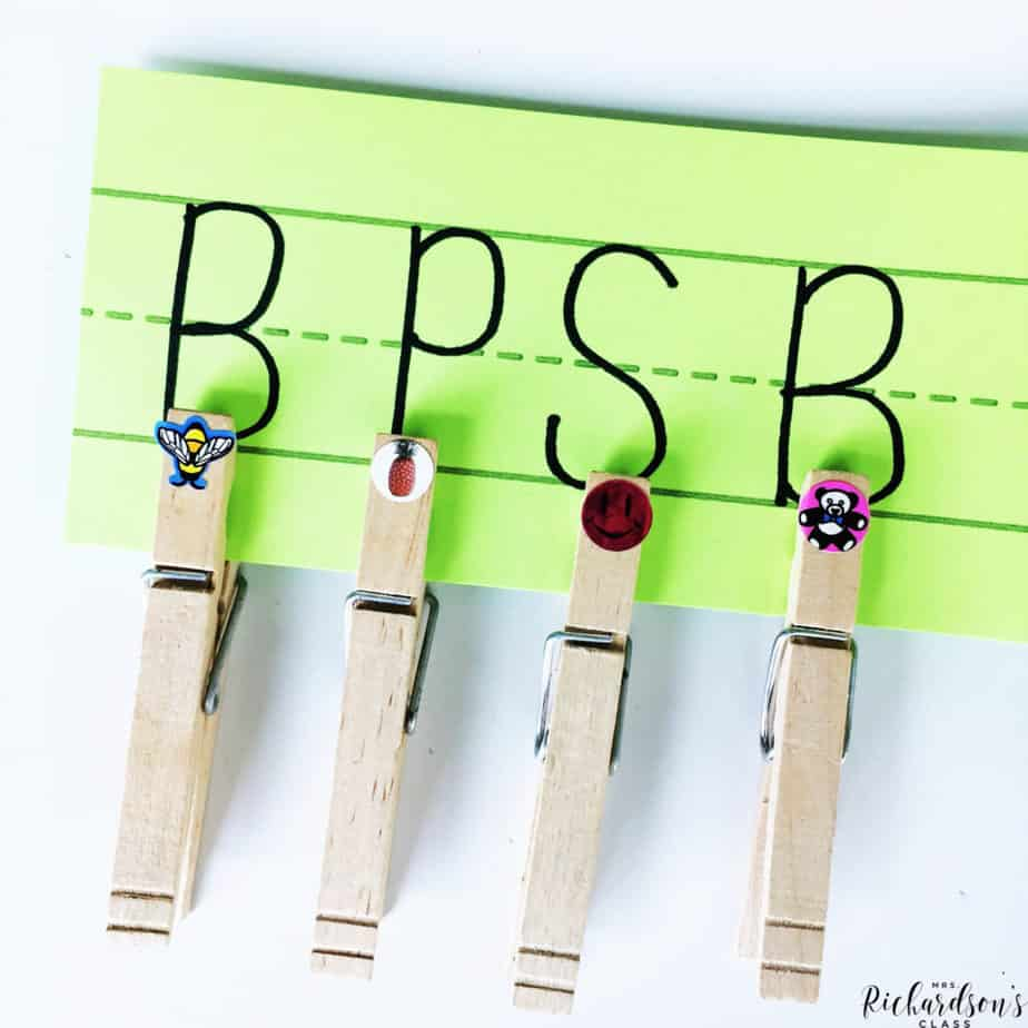 Make this simple beginning sound activity by writing letters on a sentence strip and placing stickers on clothespins. Your students will then clip the correct beginning sound!