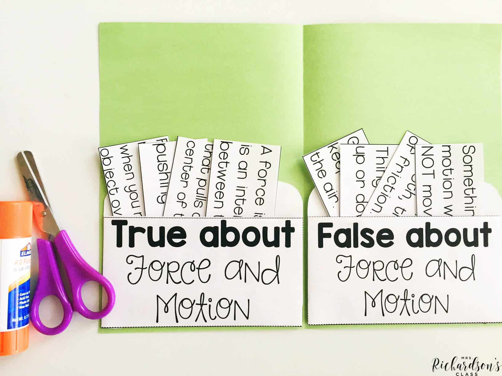 THis pocket book sort will help display a student's knowledge of what is true and false about force and motion. Grab this engaging activity as part of the force and motion unit!