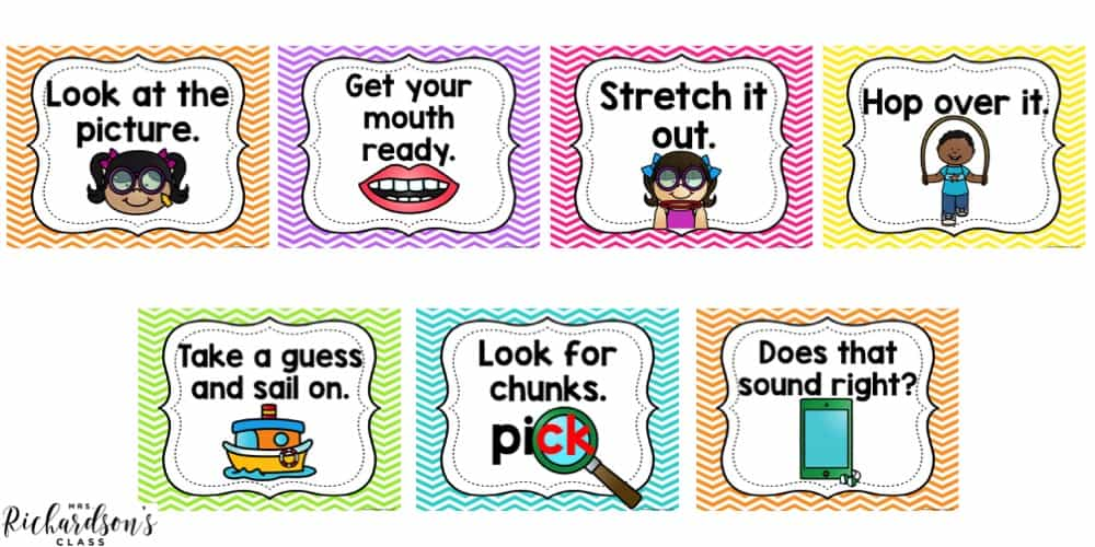 Use these decoding strategy posters to help students learn different skills to try when they are decoding text.