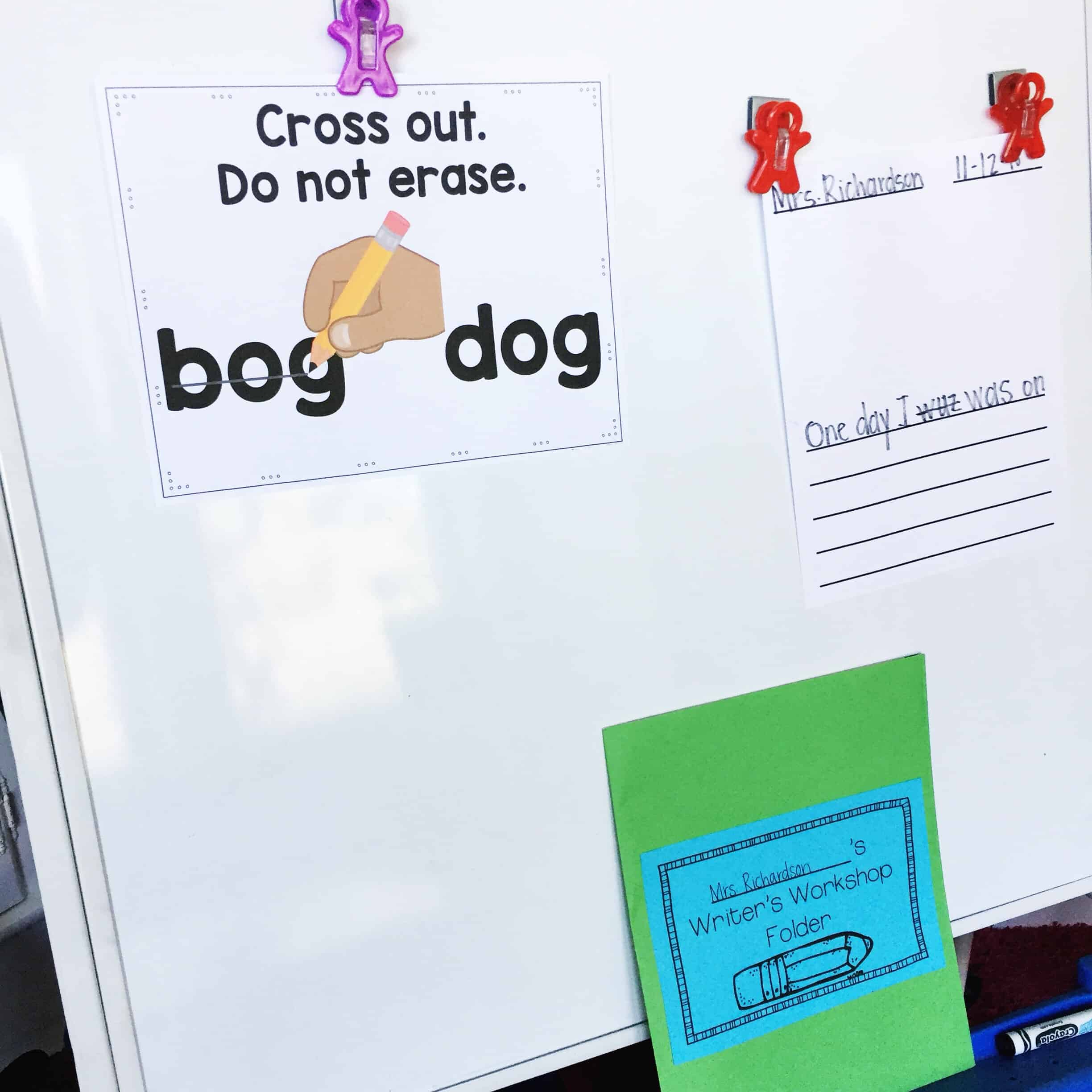 During writer's workshop, it's important to model exactly what you want students to do. Read more about the basics of kindergarten writer's workshop on this blog post.