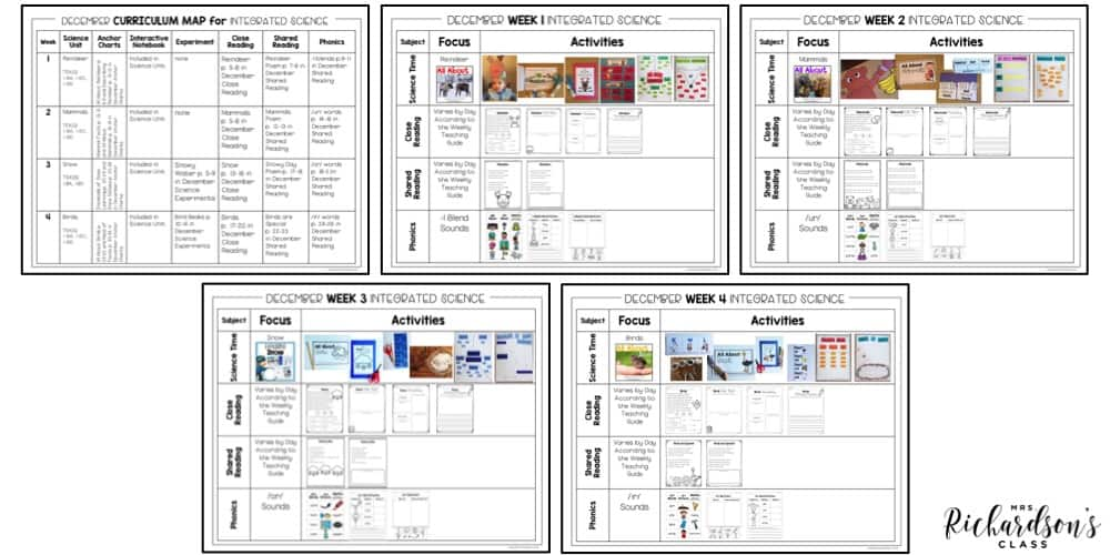 This science unit for first grade students has an easy to follow month long plan including activities for reindeer, snow, birds, and mammals.