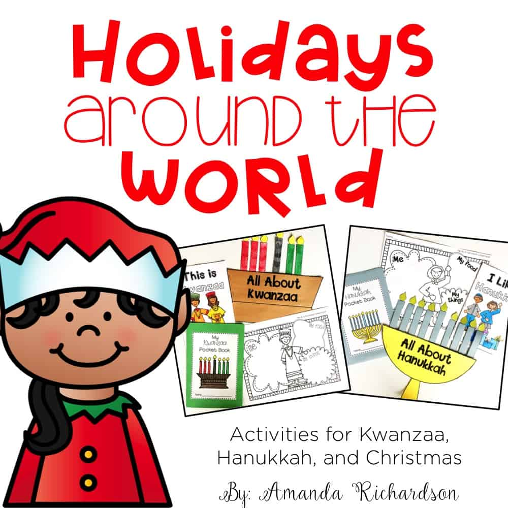 Discuss holidays and traditions other families celebrate with this holidays around the world unit! You can discuss Christmas, Kwanzaa, and Hanukkah with these engaging activities perfect for kindergarten and first grade.