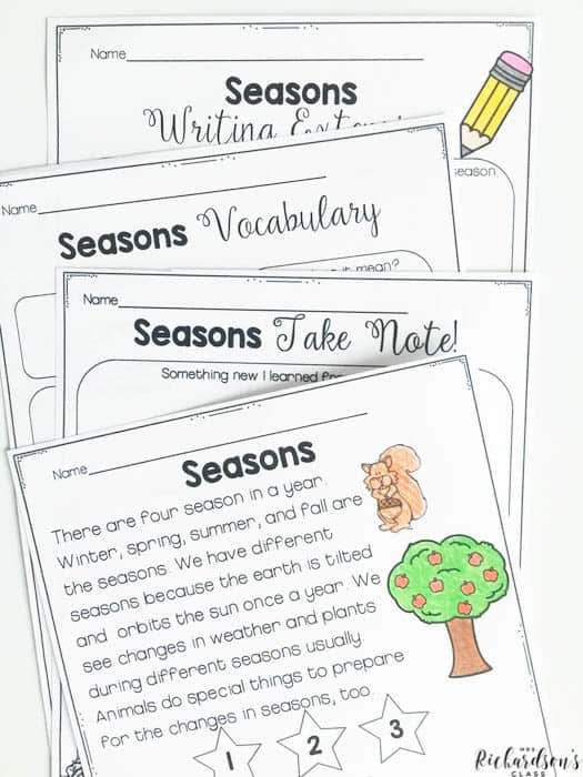 Explore seasons with this close reading activity for your first graders. Grab is FREE by signing up on the email list.