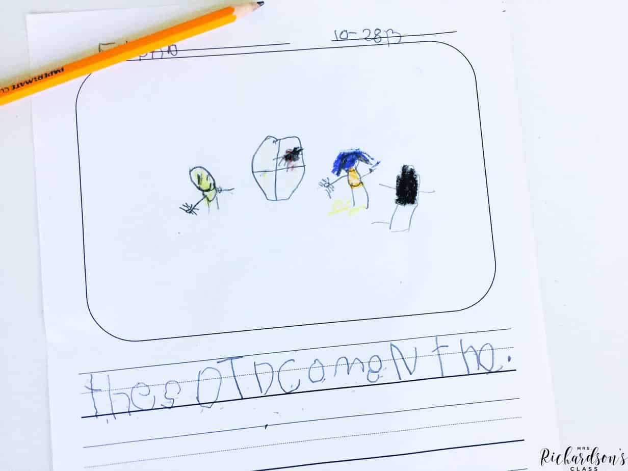 Providing your kindergarten writers with age appropriate writing paper is a great tip for writer's workshop. The writers will be able to draw pictures and write words to tell their story.