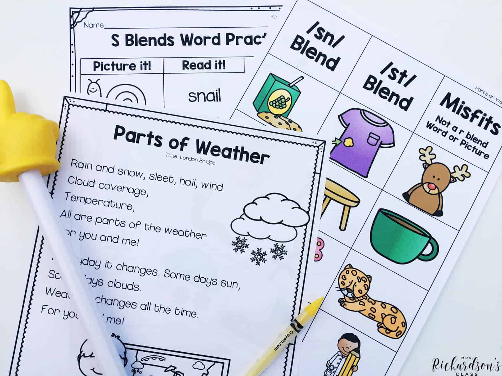 Integrating reading into science is so much fun for our first grade students! They will enjoy learning about the parts of weather while singing and sorting blends.