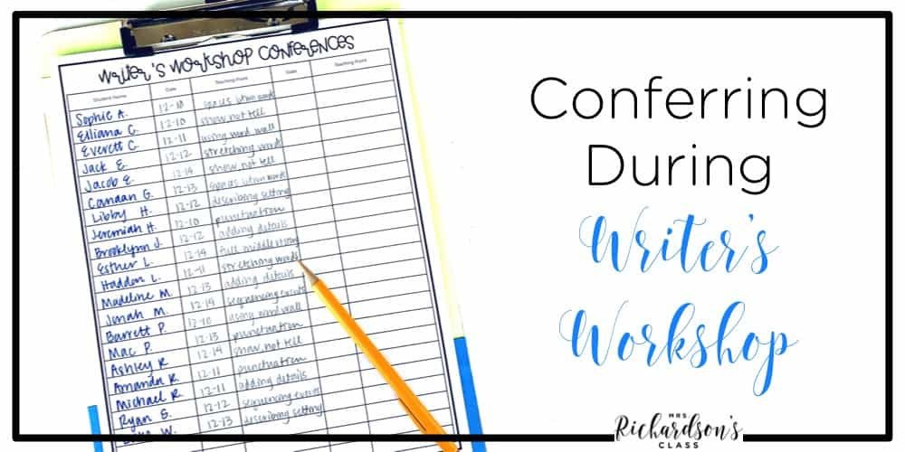 Conferring with students during writer's workshop is the heartbeat of that time. It's your time to listen, praise, and provide guidance! Grab the FREE writer's workshop conference sheet while you are there.