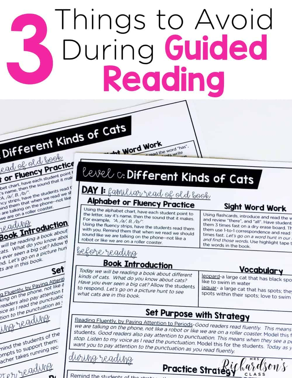 There are three things that you should avoid when doing a guided reading lesson. Do you know what they are? Are you doing these things? Read this blog post about a guided reading lesson to make sure you are doing things that are a best practice!