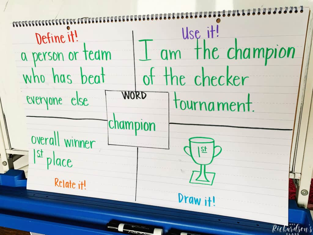 Teaching new vocabulary to English language learners is made simple with this graphic organizer for vocabulary. Read more about how to use it in this blog post about supporting English language learners in the classroom.