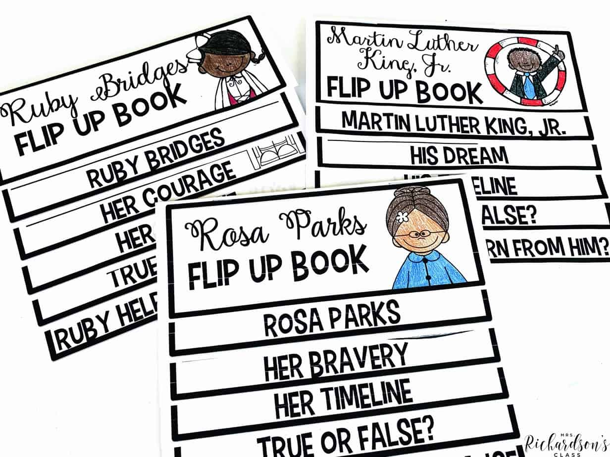 Teach about Ruby Bridges, Martin Luther King, Jr., and Rosa Parks with these Black history flip up books. Don't just teach them during Black history month, teach them ALL year! They focus on character and integrate easily into social studies for first grade and second grade.
