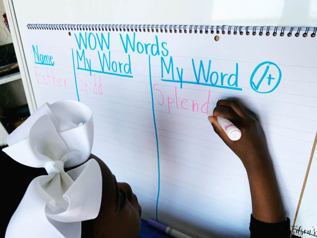 Create a WOW words anchor chart with your students to get them to expand their vocabulary and try new fancy words in their writing!
