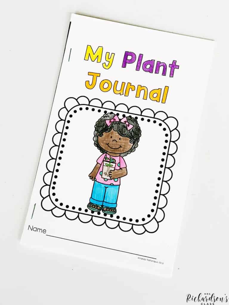 Use this FREE plant journal to write about science each day! Students can plant a plant and then record their observations daily in this FREE plant journal. #plantjournal #kindergartenscience