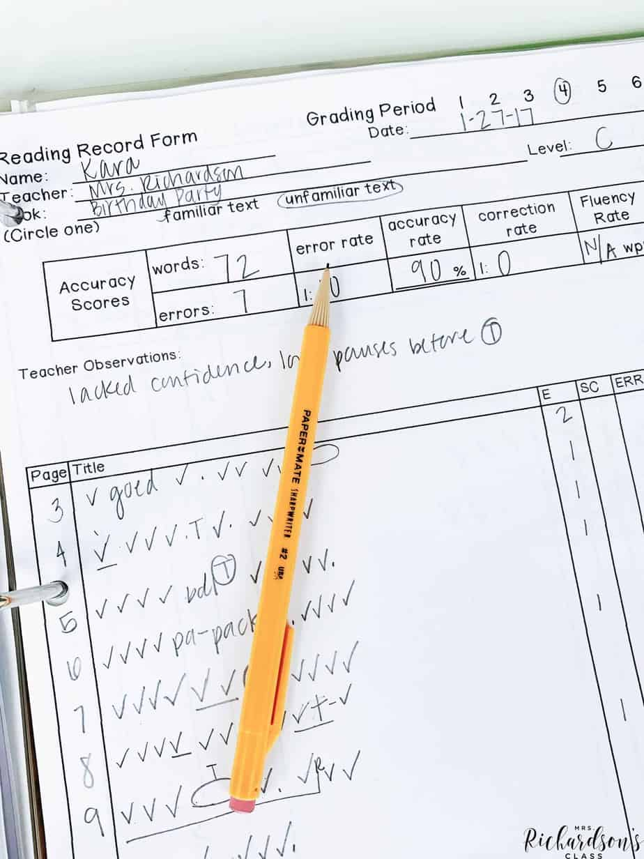Taking a running record in a guided reading group can feel overwhelming, but it doesn't have to be! Learn how to take a running record in this helpful blog post. #runningrecord #guidedreading
