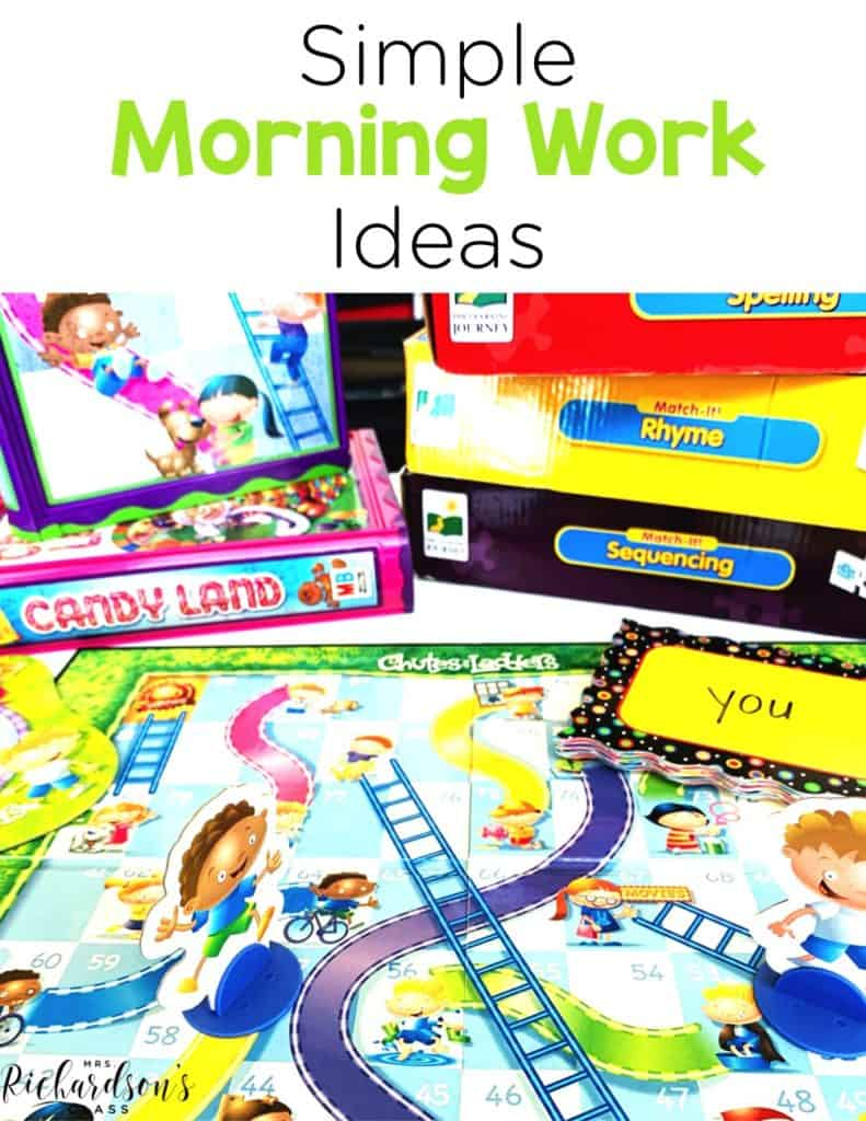 Simple Morning Work Ideas