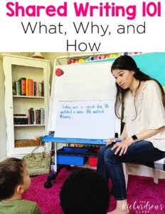 Shared writing is one component of balanced literacy. This is a time for you to model writing for your kindergarten students. You can use this time in your primary classroom to model every element of writing! Check out this blog post for more about shared writing!
