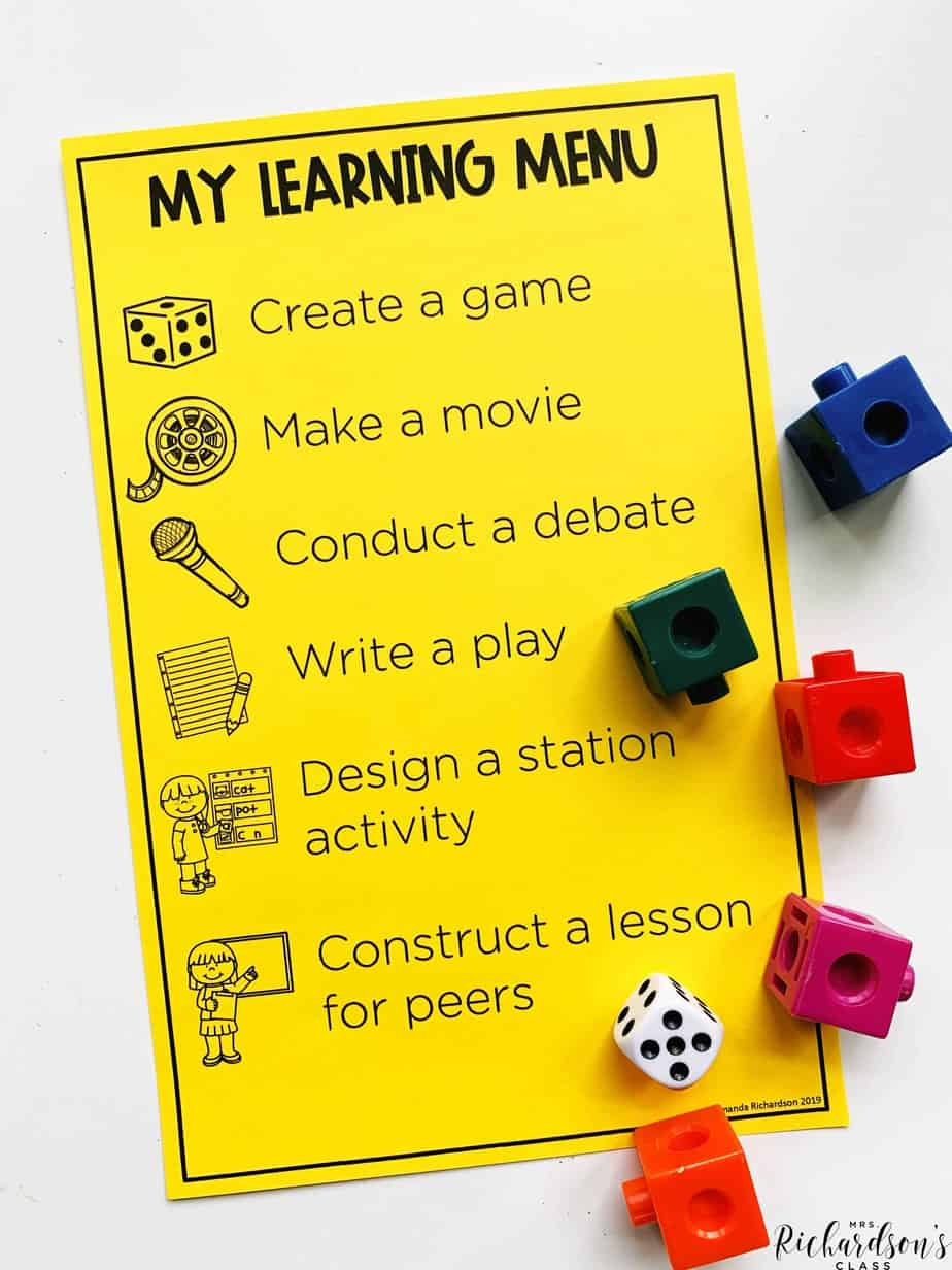 Learning Menu Printable