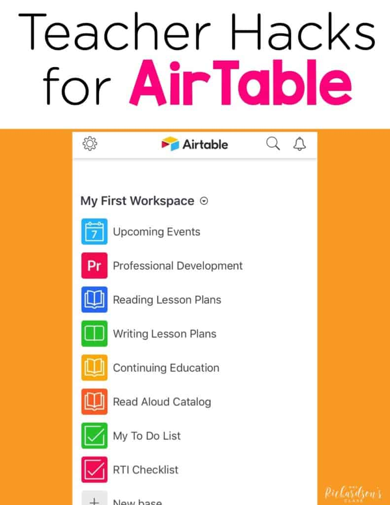 Keep track of all professional development, lesson plans, lists, RTI data and much more with this FREE online platform! You can easily share it with colleagues and administrators at school to share data. AirTable will give you great teacher organization ideas, including an online to do list!