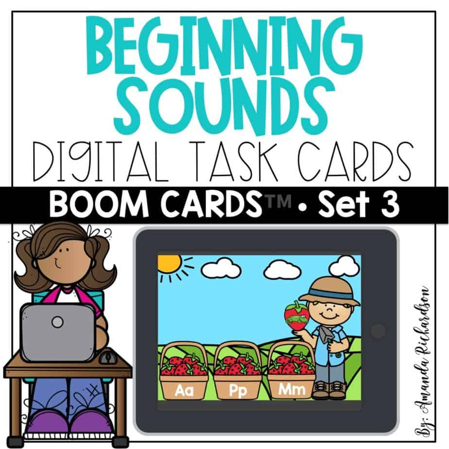 This free set of Boom Learning cards can help you introduce or review beginning sounds with students. They will practice matching a picture to the initial sound and get immediate feedback.