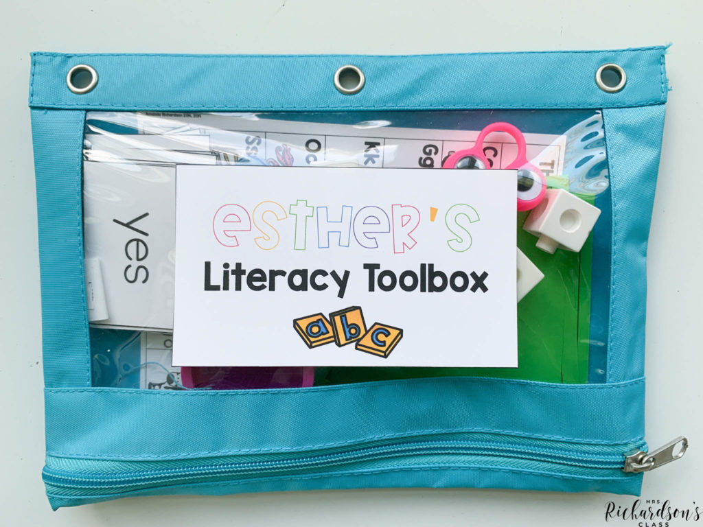 A literacy toolbox filled with manipulatives makes teaching guided reading remotely much easier. You can grab the printables for this kit for FREE on my blog to use with virtual guided reading or in-person guided reading.