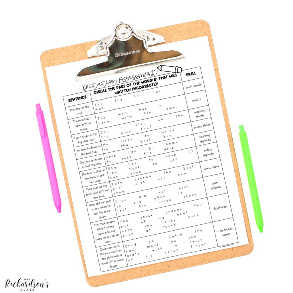 Dictation assessments make great reading assessments for kindergarten and first grade students.